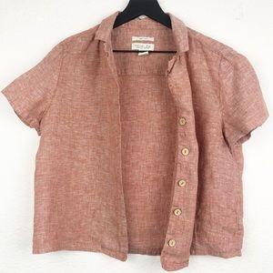 RACHEL ZOE Red Linen Short Sleeve Button Down Top